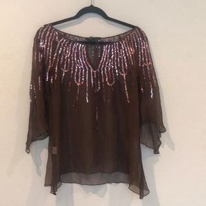 BCBGMaxAzria 100% silk top with sequins.